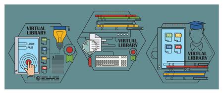 Stock illustration. infographique Flat. Bibliothèque virtuelle.