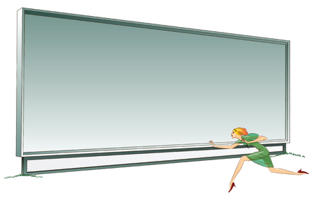 insertion: Stock illustration. Billboard for your information and a girl running past him.