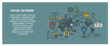 team concept: Stock illustration. Flat infographic. Social network.