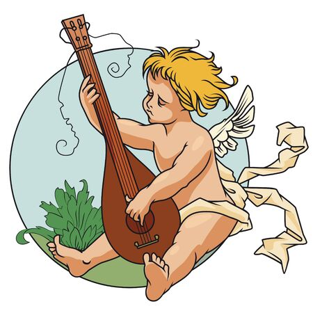 lute: Stock Illustration. Happy Valentines day. Angel with a lute.