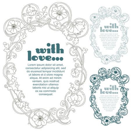 romantic: Vector set. Romantic label with flowers
