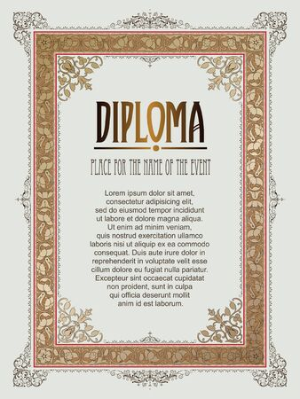 amount: Vector template for the design of diploma, advertisements, invitations or greeting cards