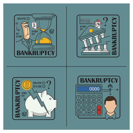 Stock illustration. Flat infographic. Bankruptcy and debt. Ilustrace
