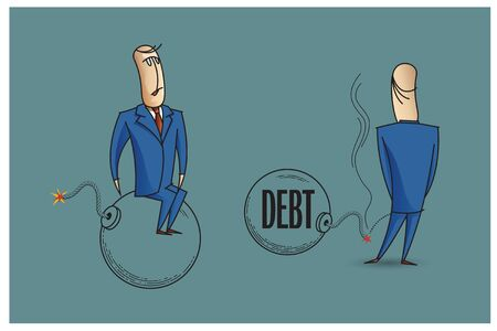 bob: Stock Illustration. Bob. Funny characters drawn in the style of flat lines. Bankruptcy and debt.