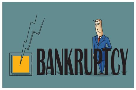 Stock Illustration. Bob. Funny characters drawn in the style of flat lines. Bankruptcy and debt.