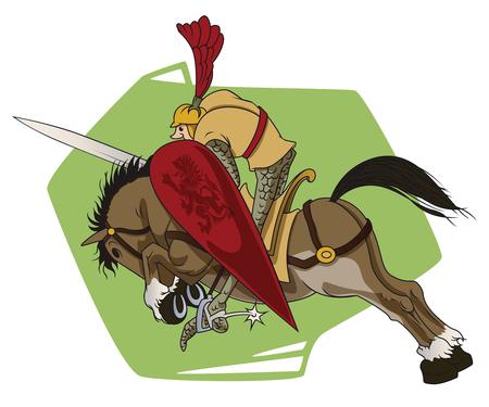 panoply: Stock illustration. Funny knight on horseback.
