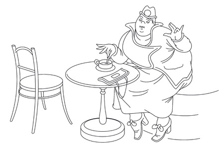 woman drinking coffee: Stock illustration. Fat woman drinking coffee at a cafe. Stroke line.