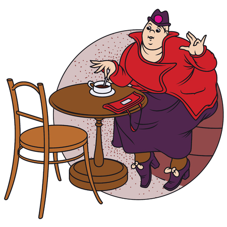 woman drinking coffee: Stock illustration. Fat woman drinking coffee at a cafe.