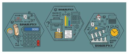 bankruptcy: Stock illustration. Flat infographic. Bankruptcy and debt. Illustration