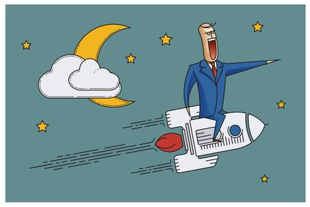 bob: Stock Illustration. Bob. Funny characters drawn in the style of flat lines. Success.