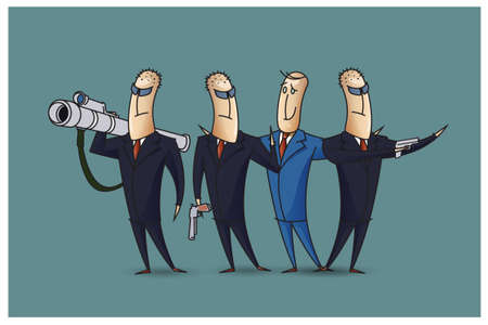 bob: Stock Illustration. Bob. Funny characters drawn in the style of flat lines. Protection.