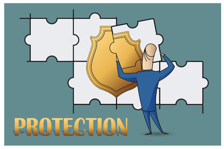 investment concept: Stock Illustration. Bob. Funny characters drawn in the style of flat lines. Protection.
