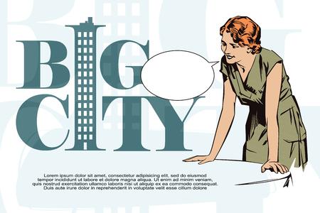talks: Stock illustration. People in retro style pop art and vintage advertising. Girl waitress.