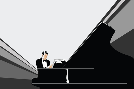 baby grand: Template flyer. Pianist at the grand piano. Illustration