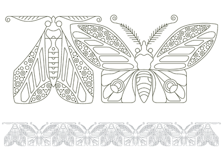 fine lines: Stock illustration. Butterflies of fine lines. Seamless pattern.