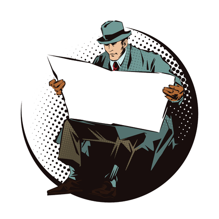 seated: Stock illustration. People in retro style pop art and vintage advertising. Seated Man with newspaper. Newspaper for your text.