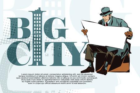 seated man: La ilustración. La gente en estilo retro pop art y la publicidad de la vendimia. Hombre asentado con el periódico. Periódico para el texto.