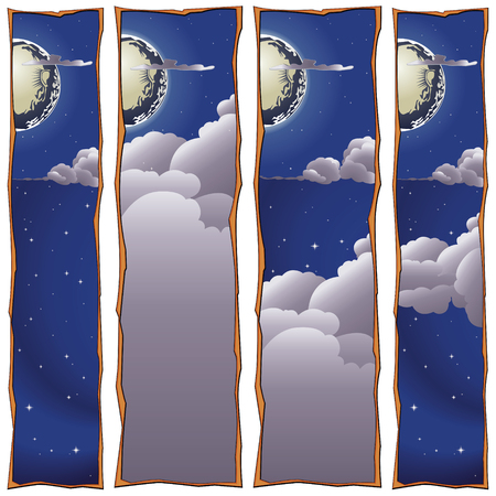 sweet dreams: Stock illustration. Moon, clouds. Sweet dreams banner.