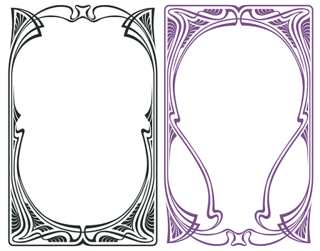 art deco border: Vector abstract framework from the bound flowers and plants for decoration and design Illustration