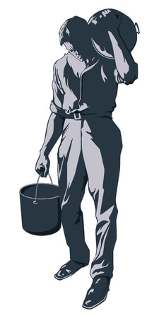 chap: Stock illustration. Male worker carries buckets of paint.