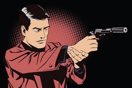 pistola: La gente en estilo retro pop art y la publicidad de la vendimia. Un hombre con una pistola.