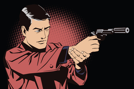 man with gun: People in retro style pop art and vintage advertising. A man with a gun.