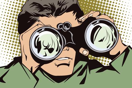People in retro style pop art and vintage advertising. Man with binoculars.
