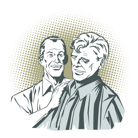 two friends: People in retro style pop art and vintage advertising. Two friends talking. Illustration