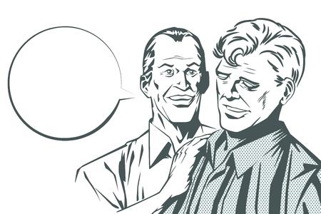 two friends talking: People in retro style pop art and vintage advertising. Two friends talking. Illustration
