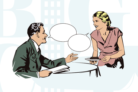 nice france: Stock illustration. People in retro style pop art and vintage advertising. Client cafes talking with the waitress.
