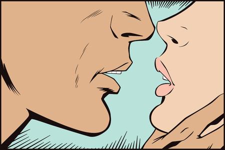 Dell'illustrazione. La gente in arte retrò stile pop e pubblicità d'epoca. Baciare le coppie.