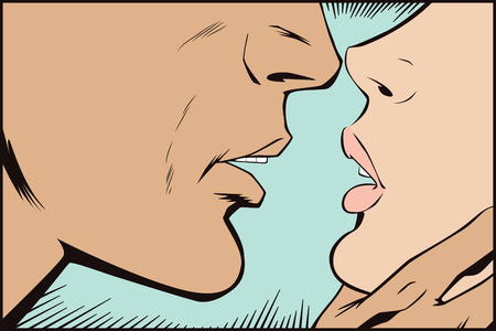 Stock illustration. People in retro style pop art and vintage advertising. Kissing couple.