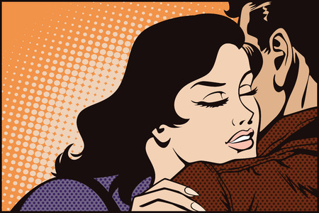 girlfriend: Stock illustration. People in retro style pop art and vintage advertising. Kissing couple.