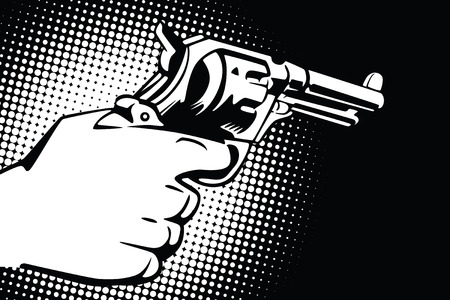 trigger: Stock illustration. Hands of people in the style of pop art and old comics. Weapon in hand.