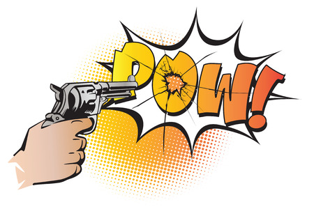 finger on trigger: Stock illustration. Hands of people in the style of pop art and old comics. Weapon in hand, and the sound of the shot. Illustration