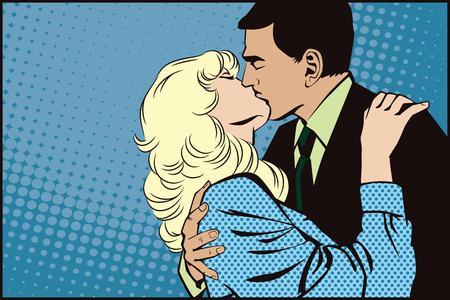 novios besandose: La ilustración. La gente en estilo retro pop art y la publicidad de la vendimia. Besar pares. Vectores