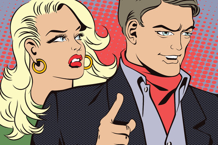 attract attention: People in retro style pop art and vintage advertising. Man with a girl wants to attract attention.