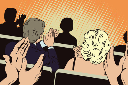 ovation: People in retro style pop art and vintage advertising. Clapping people in the auditorium