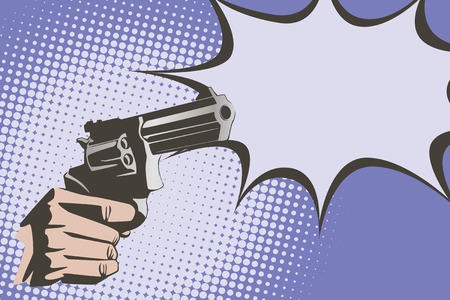 trigger: Stock illustration. Hands of people in the style of pop art and old comics. Weapon in hand, and the sound of the shot. Illustration
