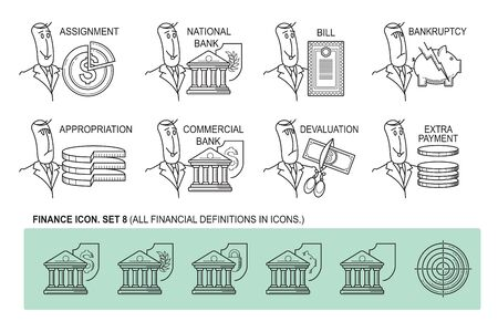 auctioning: Set Icons in style flat line. Theme - Finance. Illustration