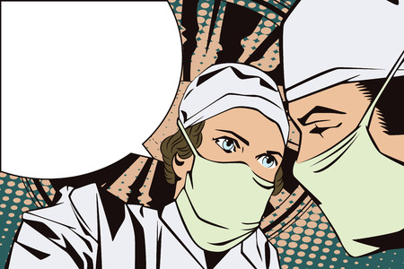 hospital patient: People in retro style pop art and vintage advertising. The doctors in the operating room Illustration