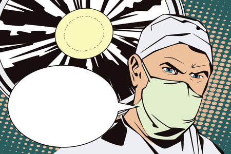 operating room: People in retro style pop art and vintage advertising. The doctor in the operating room