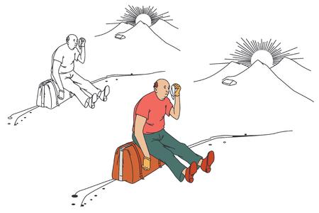 roadside: Flat line illustration. Tired tourist sitting on the roadside