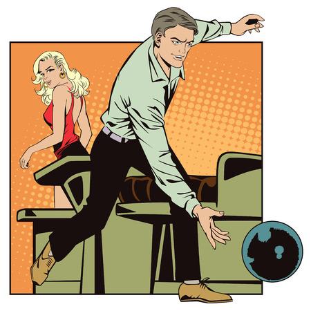 Mensen in retro stijl pop art en vintage reclame. gooit man bal in kegelenclub Vector Illustratie