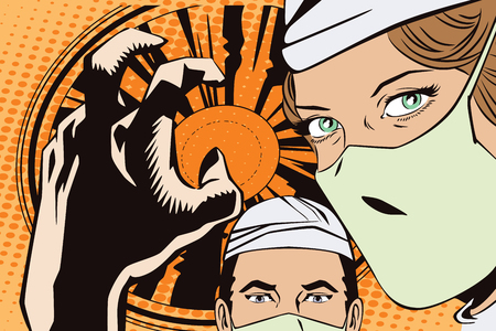 People in retro style pop art and vintage advertising. The doctors in the operating room Ilustracja