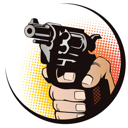 finger on trigger: Stock illustration. Hands of people in the style of pop art and old comics. Weapon in hand.