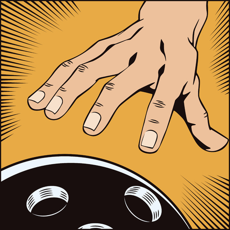 brand activity: Stock illustration. Style of pop art and old comics. Hand with a bowling ball Illustration