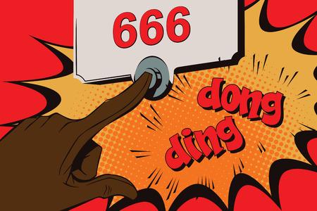satan: La ilustración. Estilo del arte pop y cómics antiguos. timbre Satanás