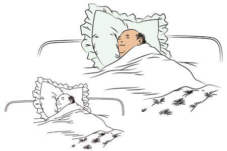 sleeping man: Flat line illustration. Sleeping man. Illustration