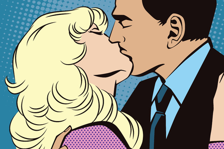 ben day dot: Stock illustration. People in retro style pop art and vintage advertising. Kissing couple.